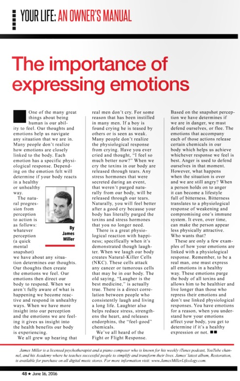 The importance of expressing emotions